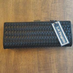 La Regale Black Satin Clutch with optional strap